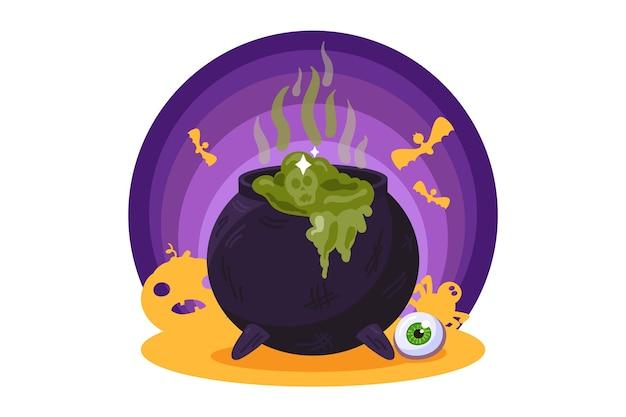 Котел ведьмы с зеленым зельем. праздник хэллоуина, жуткий элемент хэллоуина. иллюстрация