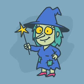 Witch character holding magic wand and smiling hand drawn character vector illustration