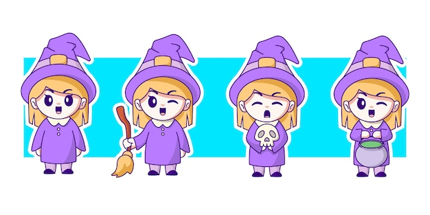 Witch character illustration set.
