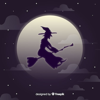 Witch character with silhouette style