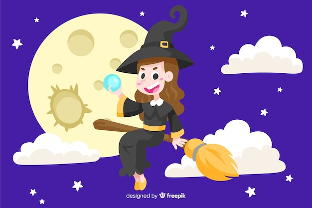Witch between clouds halloween background