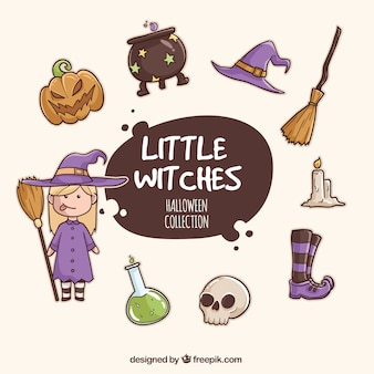 Witch collection and watercolor accessories