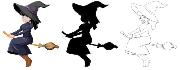 Witch in color and outline and silhouette cartoon character isolated on white background