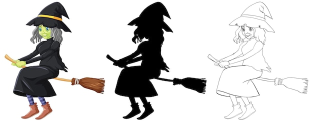 Witch in color and outline and silhouette cartoon character isolated on white