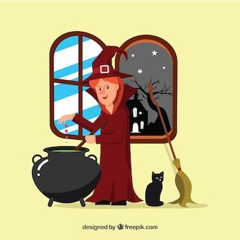 魔法の薬を調理する魔女