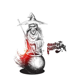 Ведьма приготовления зелья в горшке и текст happy halloween, рисованной эскиз векторные иллюстрации.