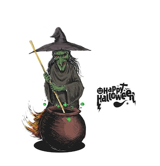 Witch cooking potion in pot and text happy halloween, hand drawn sketch vector illustration.