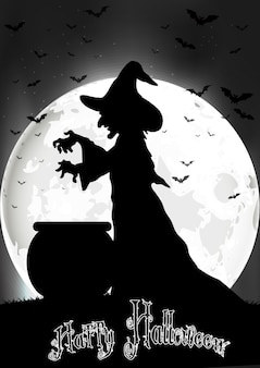 The witch cooks on the full moon