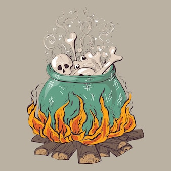 Witch crafting pot. halloween card poster.