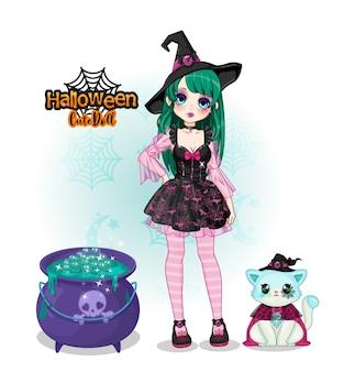 魔女かわいい人形コレクションハロウィンとかわいい猫のマスコット