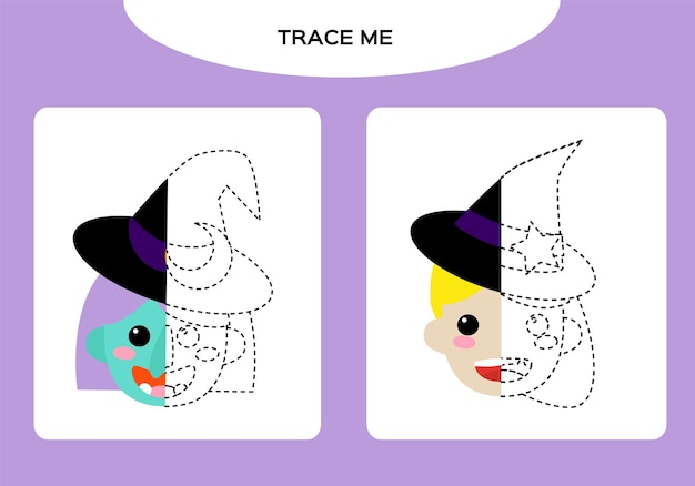 Witch and cute little witch worksheet. education game for children. happy halloween game. super motor skills. tracing worksheet. vector.