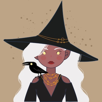 Witch. cute witch with hat and raven illustration.