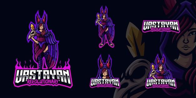 Eスポーツストリーマーとコミュニティのための魔女の闇ゲーミングマスコットロゴ