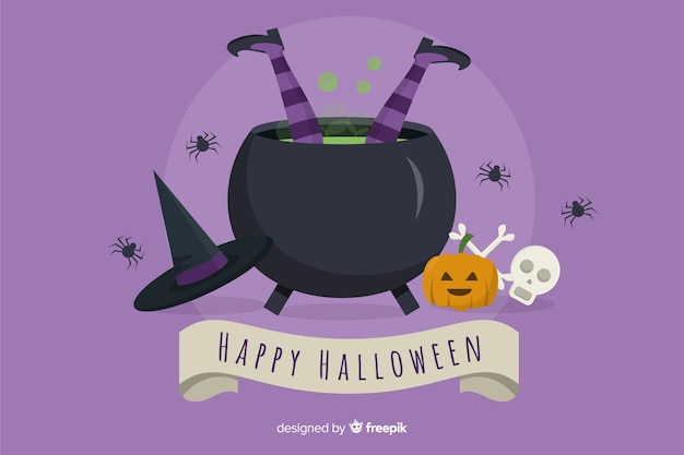 Witch falling in pot halloween background