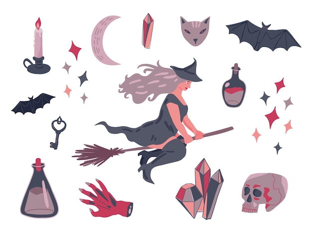 Witch flying on broom and set of hand drawn magic halloween attributes