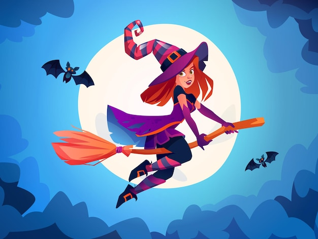 Witch flying on broomstick against full moon light wizard wearing costume lady with bats halloween