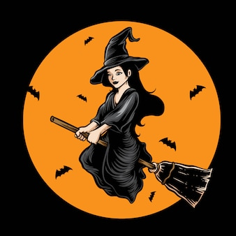 Witch flying vector logo icon