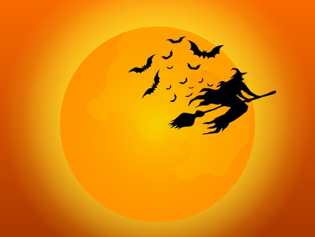 Witch flying with bats and full moon in halloween night cartoon  illustration