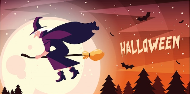 Witch flying with broom in halloween scene banner