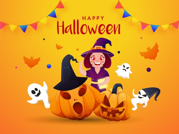 Ведьмы призраки жуткие тыквы летучие мыши и флаги овсянки для счастливого празднования хэллоуина