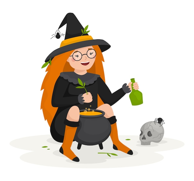 A witch girl brews a potion for happy halloween. next to the pot, the skull and spiders