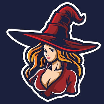 Witch girl esport logo illustration