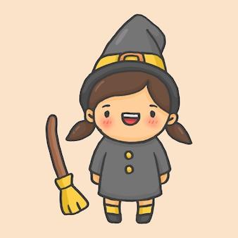 Witch girl halloween hand drawn cartoon style vector
