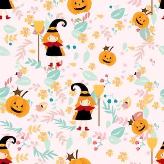 Девушка ведьмы на цветочном бесшовном пастельном узоре