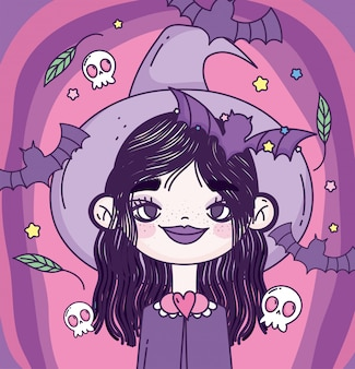 Witch girl trick or treat happy halloween