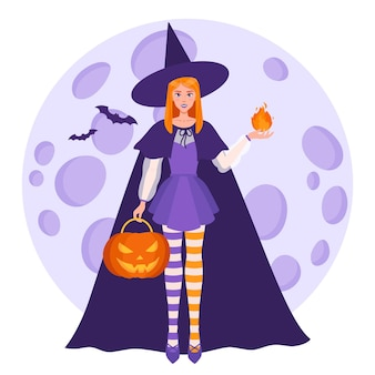 Witch girl with a fireball in her hand and halloween orange pumpkin on the background of a full moon and bats. traditional halloween symbol and decorative element. vector cartoon isolated illustration