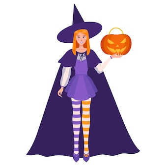 Witch girl with halloween orange jack-o-lantern pumpkin in her left hand. traditional halloween symbol and decorative element. vector cartoon isolated illustration.