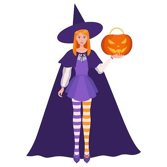 그녀의 왼손에 할로윈 오렌지 잭-오-랜턴 호박과 마녀 소녀. 전통적인 할로윈 기호 및 장식 요소입니다. 벡터 만화 격리 된 그림입니다. 프리미엄 벡터