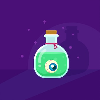 The witch green magic potion with eyeball flat illustration.