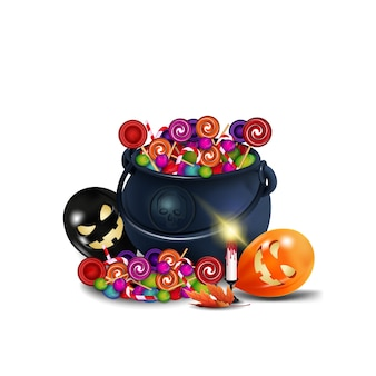 お菓子と漫画のスタイルのお菓子がいっぱいの魔女ハロウィーンポーションポット。白い背景で隔離のお菓子の鍋