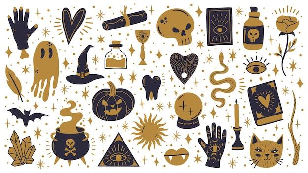 마녀 할로윈 기호입니다. 요술 으스스한, 마법의 가마솥, 해골, 호박 벡터 삽화 세트를 낙서하세요. 으스스한 할로윈 요술 아이콘입니다. 오컬트 주술, 가마솥 및 신비한 오컬티즘 프리미엄 벡터