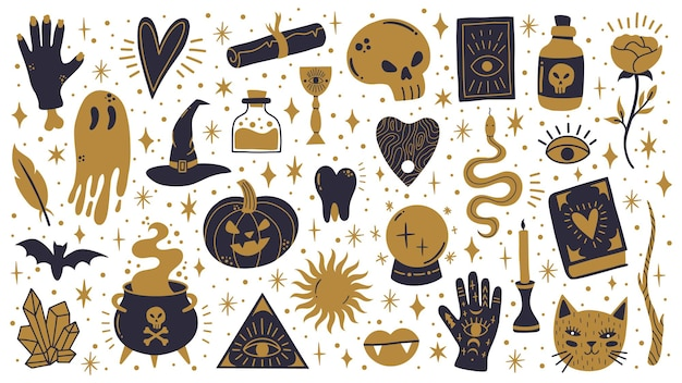 Witch halloween symbols. doodle witchcraft spooky, magic cauldron, skull and pumpkin vector illustration set. spooky halloween witchcraft icons. occult witchcraft, cauldron and mystery occultism