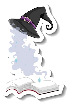 Шляпа ведьмы и книга на белом фоне
