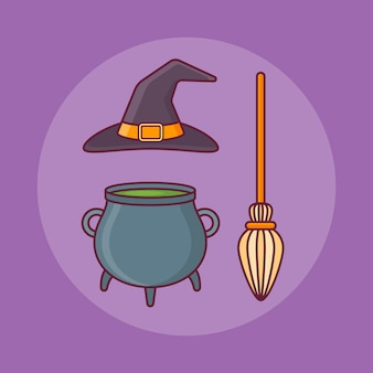 Witch hat, bowler and broom in flat line style. halloween elements.