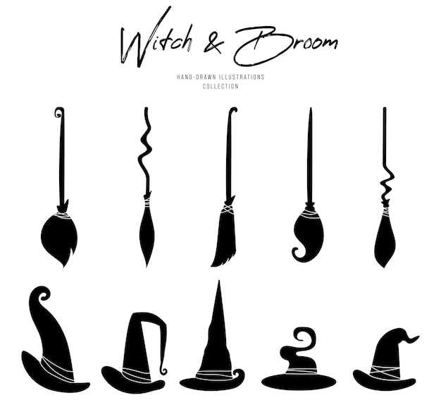 Witch hat and broom silhouette for halloween.