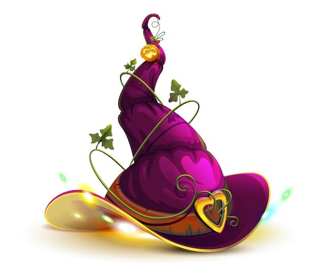 Ведьма шляпа кепка модный ретро аксессуар на праздник хэллоуин векторный мультфильм