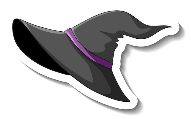 흰색 바탕에 마녀 모자 만화 스티커