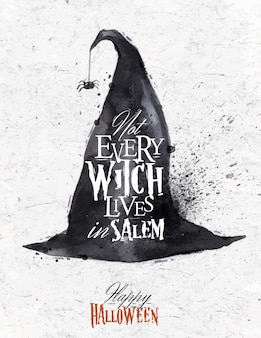 Witch hat halloween poster lettering not every witch lives in salem stylized drawing vinta