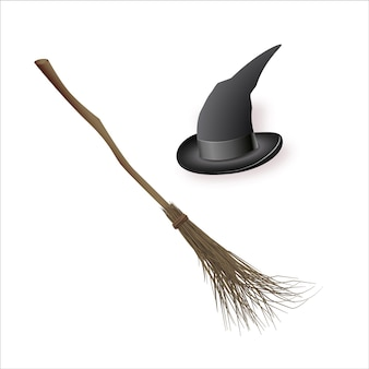 Witch hat and magic broom halloween stickers set of vector illustrations for all saints  day mystica...