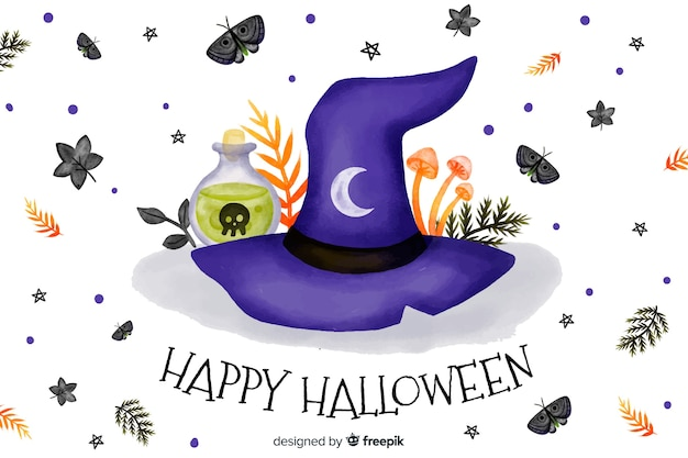 Witch hat watercolor halloween background