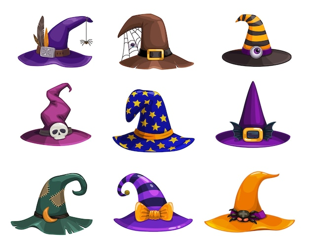 Witch hats, cartoon wizard headwear, traditional magician caps decorated with spider web, furthers, stripes or stars for sorceress or astrologer. halloween party costume hats isolated set
