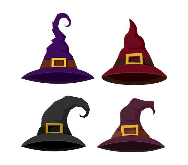 마녀 모자 할로윈 세트. 컬렉션 마법사 모자 흰색 배경에 고립입니다. 삽화.