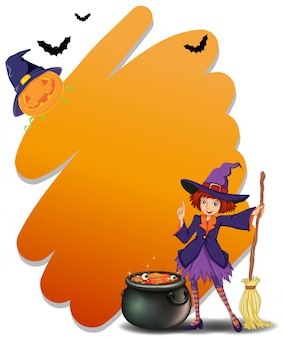 A witch holding a broomstick beside her magical pot