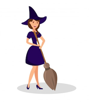 Witch holding broomstick flat color illustration