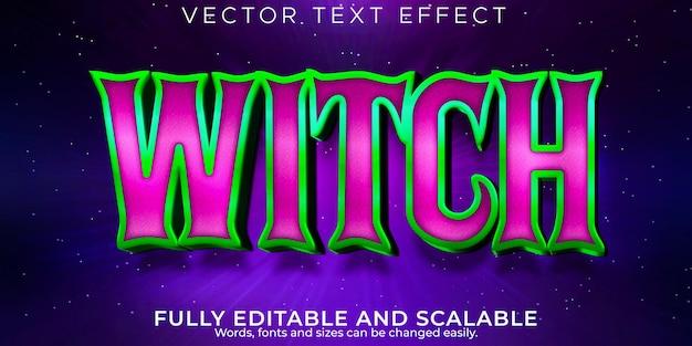 Текстовый эффект ужаса ведьмы, редактируемая магия и стиль текста хэллоуина