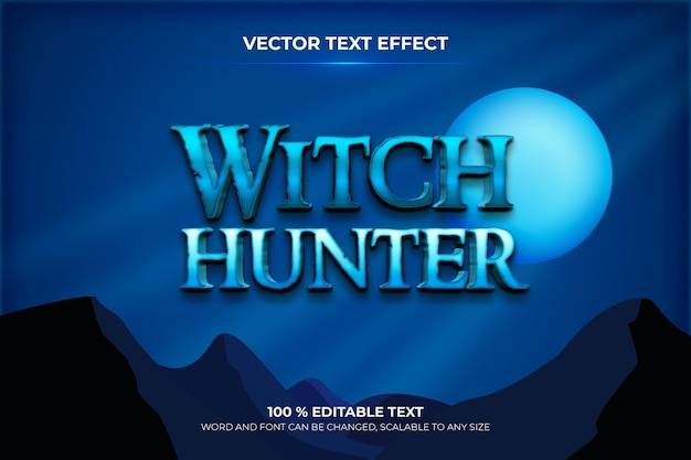 Witch hunter editable 3d text effect with blue sky at night backround style